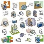 um conjunto de ícones do vetor eletrodomésticos em cor e preto e brancas renderizações — Vetorial Stock