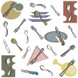 A set of cutlery vector icons in color, and black and white renderings. — Imagen vectorial