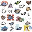 A set of vector icons of cups and dishes in color, and black and white renderings. - Stock Vector