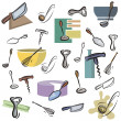 A set of kitchen utensil vector icons in color, and black and white renderings. - Stock Vector