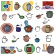 Set of pot and frying pvector icons in color, and black and white renderings. — Stock Vector #22548773