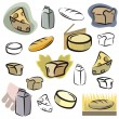 A set of icons of dairy and bread vector icons in color, and black and white renderings. - Stock Vector