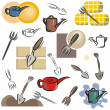 A set of cutlery vector icons in color, and black and white renderings. — Stock Vector #22548843