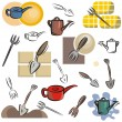 A set of cutlery vector icons in color, and black and white renderings. — Stock Vector