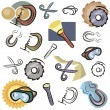 A set of vector icons of various tools in color, and black and white renderings. — Stock Vector