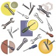 Royalty-Free Stock Vector Image: A set of screwdriver, wrench, nail and nut vector icons in color, and black and white renderings.