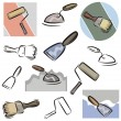 A set of vector icons of tools in color, and black and white renderings. - Stock Vector