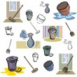 Stock Vector: Set of vector icons of washing and cleaning tools in color, and black and white renderings.