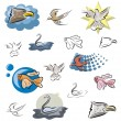 A set of bird and fish vector icons in color, and black and white renderings. — Stok Vektör