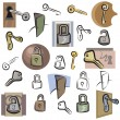 A set of lock and key vector icons in color, and black and white renderings. - Stock Vector