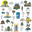 A set of tree and nature scene vector icons in color, and black and white renderings. - Stock Vector