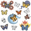 A set of butterfly vector icons in color, and black and white renderings. — Imagens vectoriais em stock