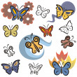 A set of butterfly vector icons in color, and black and white renderings. - Stock Vector