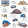 A set of transportation vector icons in color, and black and white renderings. - Stock Vector