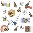 A set of vector icons of music instrument in color, and black and white renderings. - Stockvektor