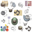Set of vector music icons in color, and black and white renderings. — Stock Vector #22548933