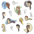 A set of vector icons of female faces in color, and black and white renderings. - Stock Vector