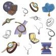 un ensemble de bijoux et montres icônes vectorielles en couleur et noir et blancs rendus — Vecteur