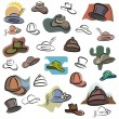 A set of vector icons of hats in color, and black and white renderings. - Stock Vector