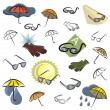 A set of vector icons of umbrellas, glasses and gloves in color, and black and white renderings. — Stockvector