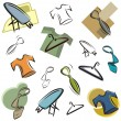 Royalty-Free Stock Vector Image: A set of vector icons of clothing and accessories in color, and black and white renderings.