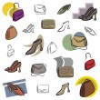 A set of vector icons of bags and shoes in color, and black and white renderings. — Vettoriale Stock
