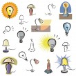 A set of vector icons of lamps and lighting in color, and black and white renderings. - Stock Vector