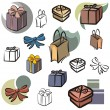 A set of vector icons of gifts in color, and black and white renderings. — Imagen vectorial