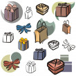 A set of vector icons of gifts in color, and black and white renderings. — Stock Vector