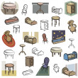 A set of home furniture vector icons in color, and black and white renderings. - Stok Vektör