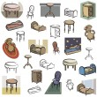 Royalty-Free Stock Vector Image: A set of home furniture vector icons in color, and black and white renderings.