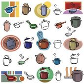A set of pot and frying pan vector icons in color, and black and white renderings. — Stock Vector