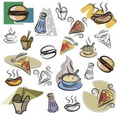 A set of fastfood vector icons in color, and black and white renderings. — Stock Vector