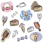 A set of vector icons of candies, ice-creams and cakes in color, and black and white renderings. — Stock Vector