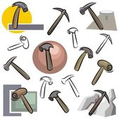 A set of vector icons of hammers in color, and black and white renderings. — Stock Vector