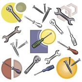 A set of screwdriver, wrench, nail and nut vector icons in color, and black and white renderings. — Stock Vector