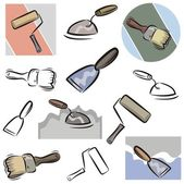 A set of vector icons of tools in color, and black and white renderings. — Stock Vector