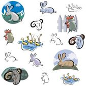 A set of vector icons of rabbit, cock, duckling and ram in color, and black and white renderings. — Stock Vector
