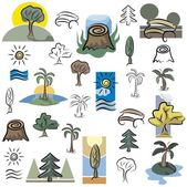 A set of tree and nature scene vector icons in color, and black and white renderings. — Stock Vector