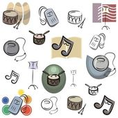 A set of vector music icons in color, and black and white renderings. — Stock Vector