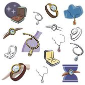 A set of jewelry and watch vector icons in color, and black and white renderings. — Stock Vector