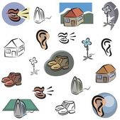 A vector set of various home icons in color, and black and white renderings. — Stock Vector