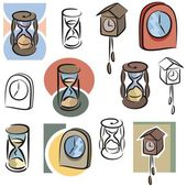 A set of clock and hourglass vector icons in color, and black and white renderings. — Cтоковый вектор
