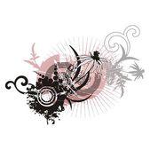 抽象花卉 grunge 背景. — 图库矢量图片