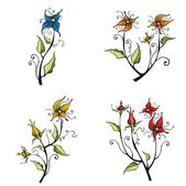 Floral design set in a single style, vector illustration series. — Stock Vector