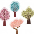 Vector spring tree designs in a single style. - Stock Vector