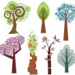 Vector tree designs in various styles. — Stock Vector