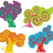 Vector colorful tree designs in a spiraltype style.  — Stock Vector