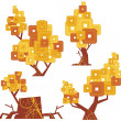 Vector goldentype tree designs. — Stock Vector
