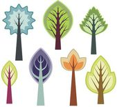 Vector tree designs in a single style — Stock Vector